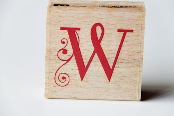 Letter w wooden rubber stamp scrapbooking cardmaking tag