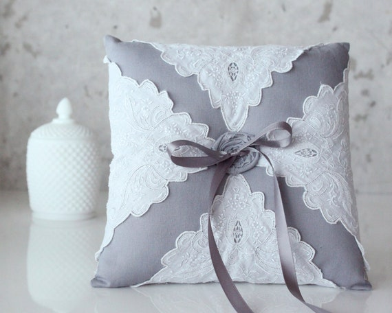 Ring Bearer Pillow, Lacy Gray, gray/grey cotton and vintage lace handkerchief