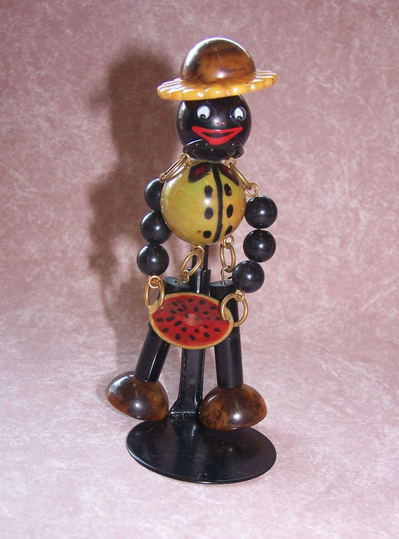 Adorable  Crib Toy Style Bakelite Black Man with Watermelon