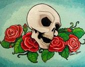 Tattoo Flash Art Print. Skull and Roses. Day of the Dead Art. Rockabilly Pop Art Poster Old School Rocker Art Print bones nelson