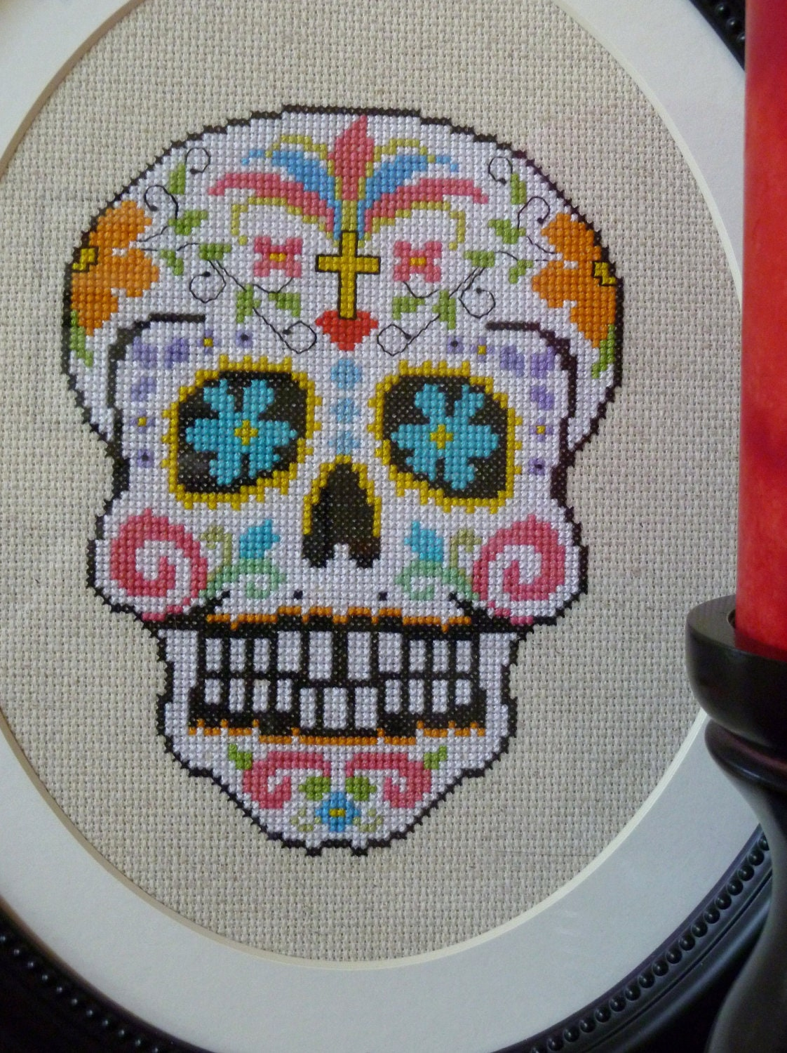 White Sugar Skull Cross Stitch Pattern