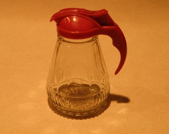 Red Topped Syrup Pitcher