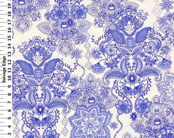 Blue Damask on White Cotton Home Dec Fabric - One Yard - 44 inch Home Decor Fabric
