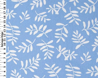 SALE - White Leaves on Blue Cotton Home Dec Fabric - One Yard - 44 Inch Home Decor Fabric