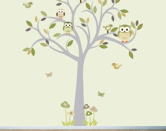 Owl wall decal, Tree Wall Decal, Owl tree wall sticker, Moss and Brown Owl decal, owl wall decal, nursery owl decor