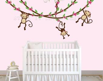 Hanging Monkey Wall Decal, Girl Monkey Vines, Monkey Decal, Nursery Wall Decals, Girl Monkey Decor