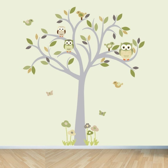 Owl wall decal, Tree Wall Decal, Owl tree wall sticker, Moss and Brown