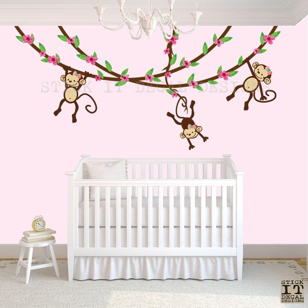 hanging monkey wall decal girl monkey vines monkey decal