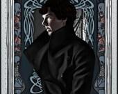 Canvas or Glossy Art Print: Art Nouveau Sherlock