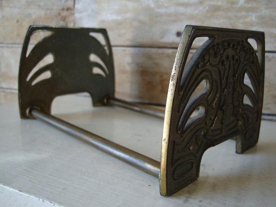 Vintage Primitive Brass Book Shelf Holder