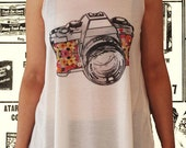 retro CAMERA flower handmade high quality detailed silk screen by hand printed white women t shirt tank top vintage ladies vest