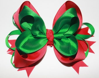 Red and Green Christmas Hair Bow