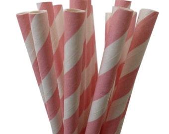Light Pink Paper Straws | Stripe Paper Straws | Light Pink Paper Straws | Baby Girl Shower Decor | Gender Reveal Shower | Drinking Straws