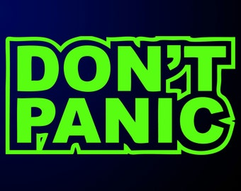 Don't Panic Sticker - Hitchiker's Guide to the Galaxy