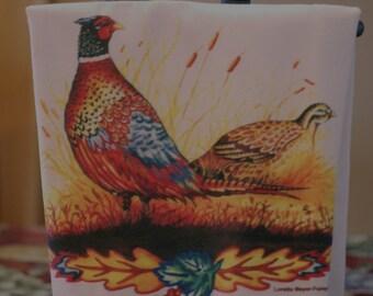 Pheasant Print Flour Sack Towel