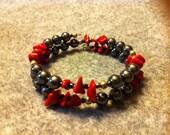Hemitite and Red Agate Bracelet