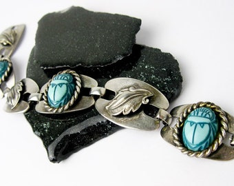 1960s Egyptian Revival, Silver Bracelet, Scarabs,Turquoise Milk Glass, Modernism, by Karel Vlach, Canada.