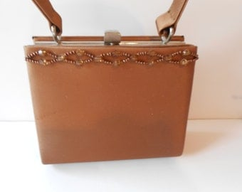 Vintage Evening Bag,Copper Evening Bag,  Vintage Bead Purse,Copper Handbag, Beaded Trim EB-0356