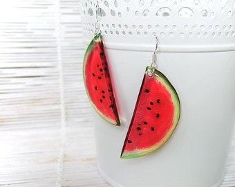 Resin Earrings Transparent Earrings Fruit Earrings Juicy Red Watermelon Earrings Red Earrings Big Earrings Summer Earrings Dangling Earrings