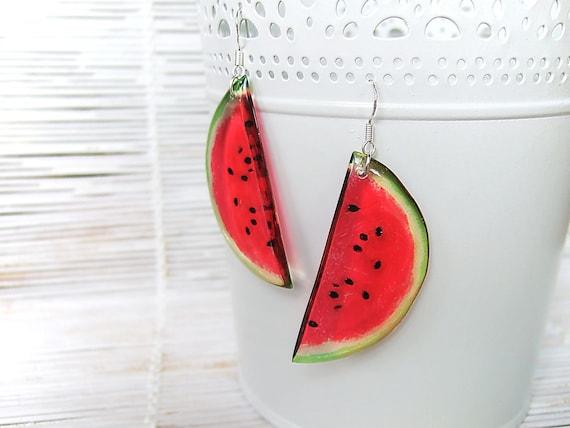 Resin Transparent Fruit Earrings Juicy Red Watermelon