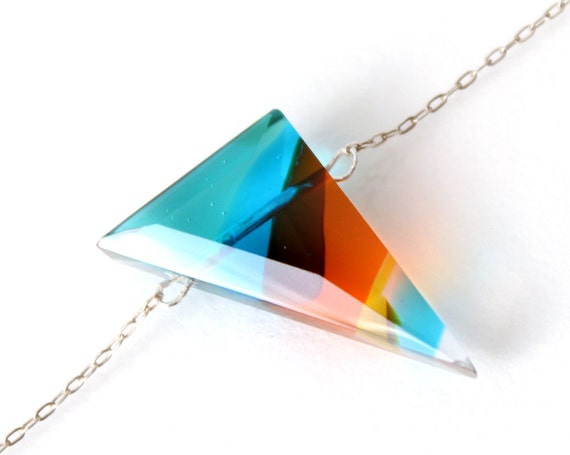 Faceted Gemstone made of Glass - Triangle Multicolor - Fused Glass Jewel Pendant Necklace