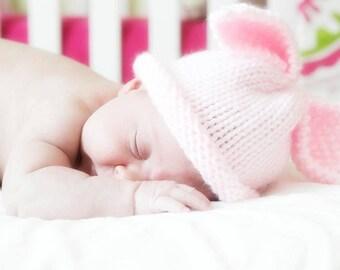 Premature preemie pink girl baby hat - bunny rabbit baby ear hat - pastel pink - Easter spring photography prop - hand knit vegan babyshower