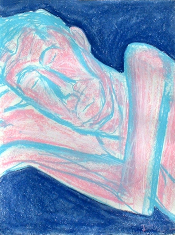 Figure Drawing of Reclining Male Nude with Chalk Pastels 18x24 Expressionist ...