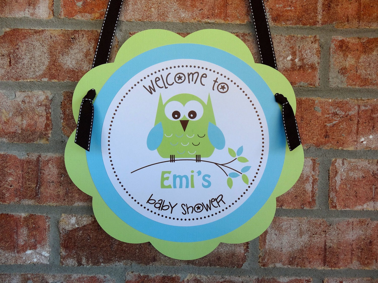 Items similar to Owl Pink Green Blue Birthday/Shower Door Sign on Etsy