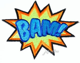 Neon BAM Comic Book Words Iron On Embroidery Patch MTCoffinz