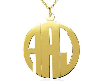 "1 1/2"" STERLING SILVER MONOGRAM necklace - 24k gold overlay (ZC90841-gpss)"