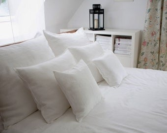 Linen Bedding , Duvet cover , white duvet cover, Single, Twin, Full, Queen, King size.