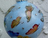 Hand Painted Butterflies Christmas Ornament