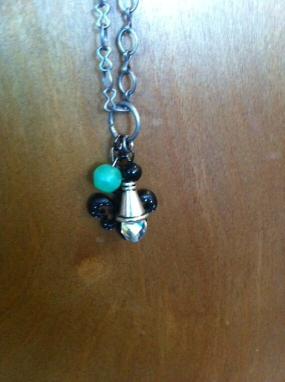 Long Bronze Chain Fleur de Lis Charm Necklace