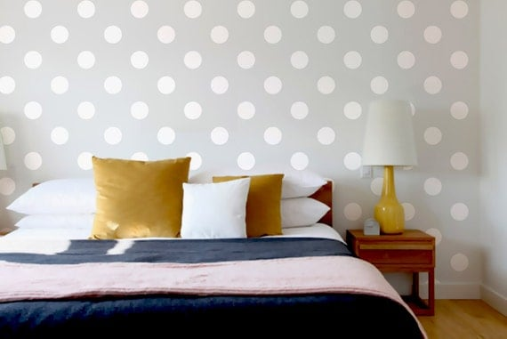 Wall Stencil Polka Dot Circles Geometric Pattern Wall Room Decor Made by OMG Stencils Home Improvements Color Paintings 0051