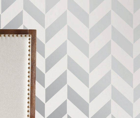Wall stencil geometric arrow chevron zig zag by omgstencils for Chevron template for walls