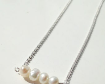 Pearl Necklace, Freshwater Pearl Necklace, Simple Pearl Necklace