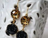 THE CHRISTINA Black Cabochon with Lucite Leopard Print Charm Dangle Earring