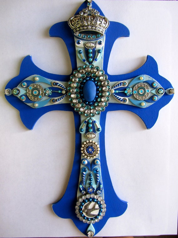 Jewelled Wall Decoration : Items similar to wall cross blue decorative