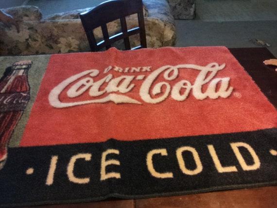 """Vintage-antique throw rug Coca Cola """" ice cold"""""""