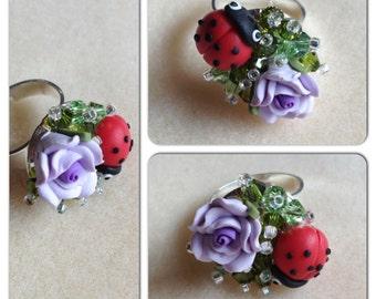 Flower and Ladybird Swarovski Crystal Ring