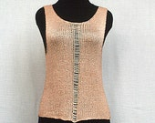 hand knitted Top for women apricot silk viscose sophisticated Hippie