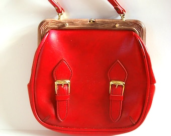 Red Leather Purse, bag, soviet accessory, vintage
