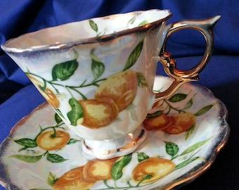 Vintage May Orange Teacup with Gold Trim