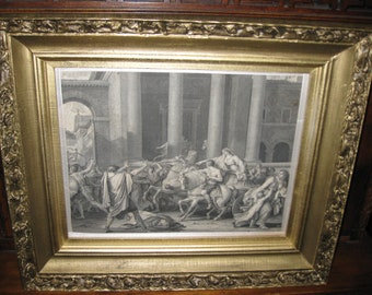 "WOOD GESSO FRAME With Antique Print 16"" X 19"""