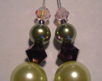 Sage Green & Dk Green Pearls  Blue-Violet and Pink Swarovski Crystals on 4in Dangle Earrings