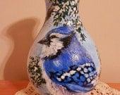 Hand Painted Glass Hurricane Lamp Shade - Winter Blue Jay