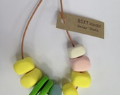 DAISY CHAIN Chunky Bead Necklace - Pastel yellow and pink