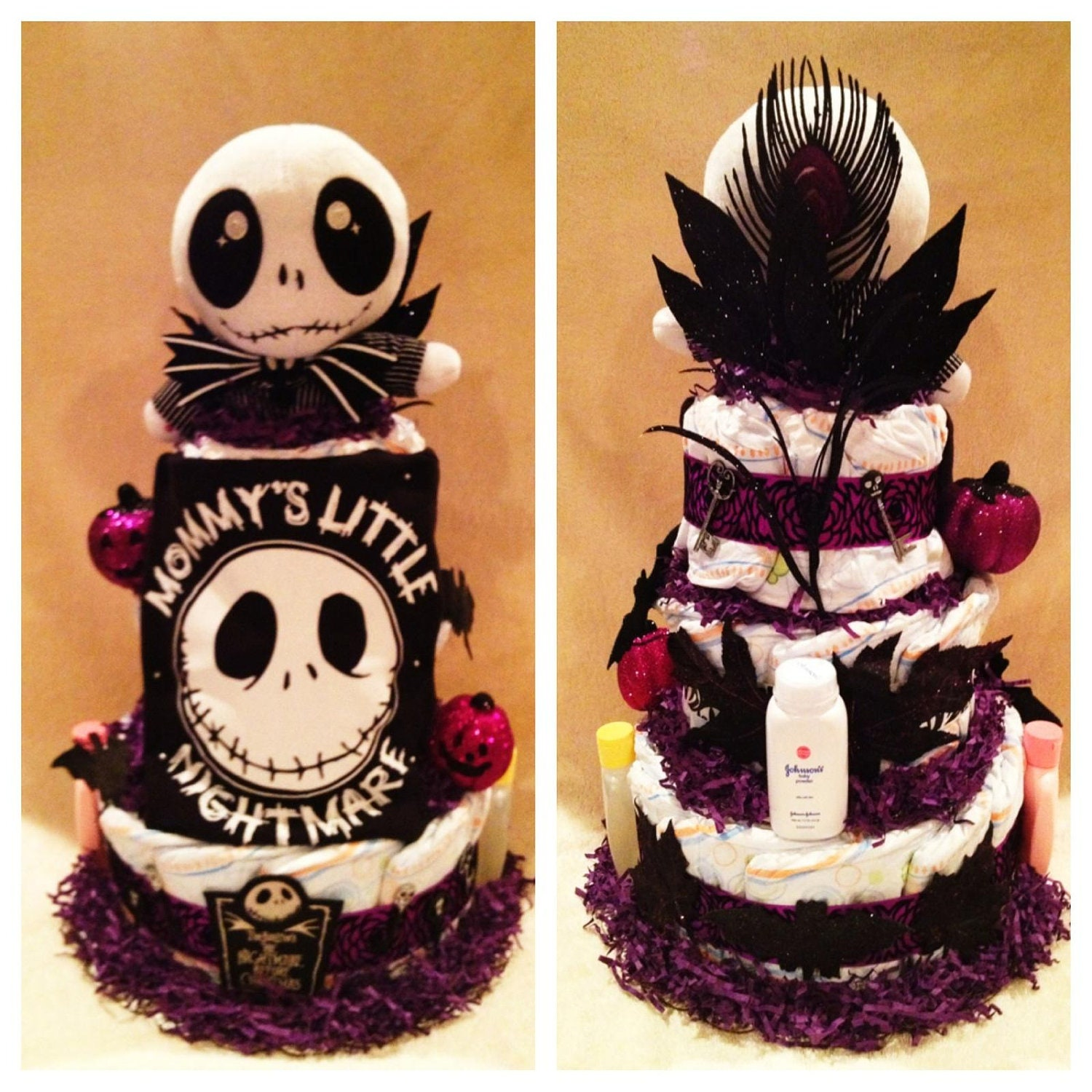 Nightmare before christmas bathroom decor - 3 Tier Nightmare Before Christmas Diaper Cake