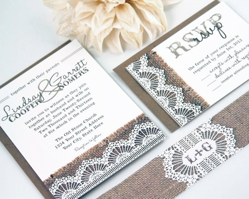Wedding Invitations With Burlap: Burlap & Lace Wedding Invitation Suite By Blissprintspaperie