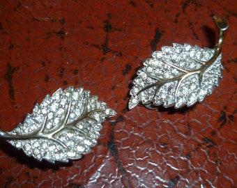 Rare Vintage Jomaz Earrings Rhinestone Leaves Collectors Item